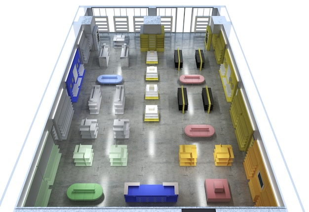 Торговое помещение, магазин, визуализация интерьера, 3д иллюстрация