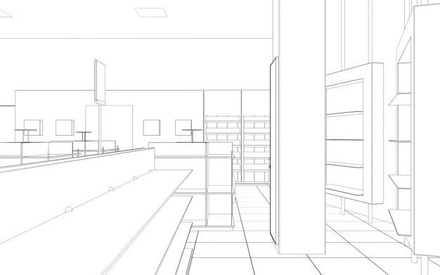 商業施設ショップインテリアビジュアライゼーション3dイラスト