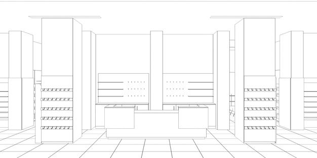 상업 건물 상점 내부 시각화 3d 그림