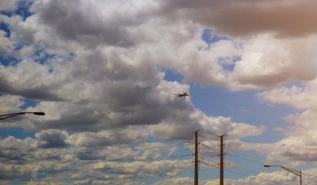 Commerical passenger jet coming on landing airport