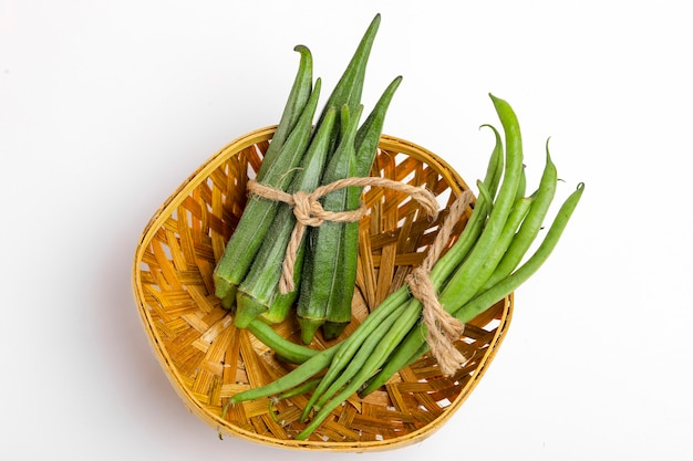 Common bean or dolichos bean pods and okra,