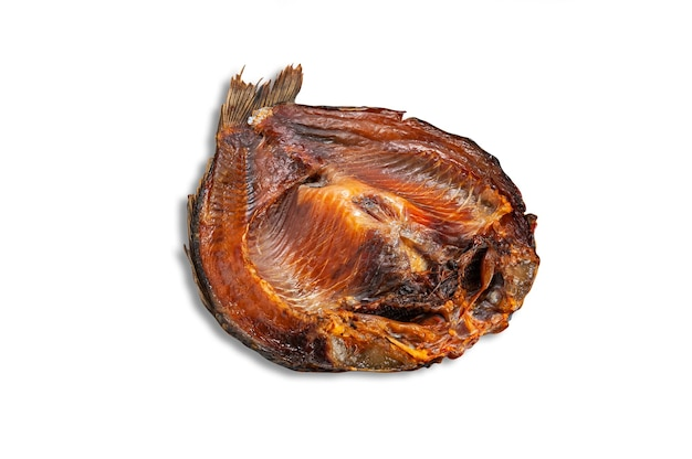 Common bream. plast. cut in half. smoked. white background. isolated.