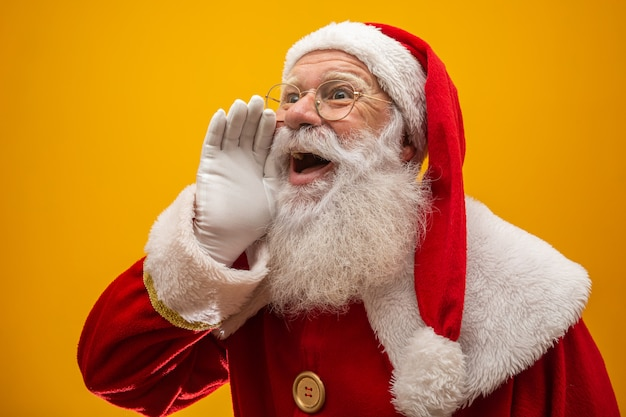 Communication concept santa claus with open mouth