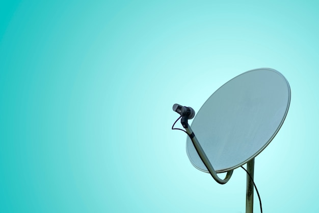 Communication concept with satellite dish on pastel background