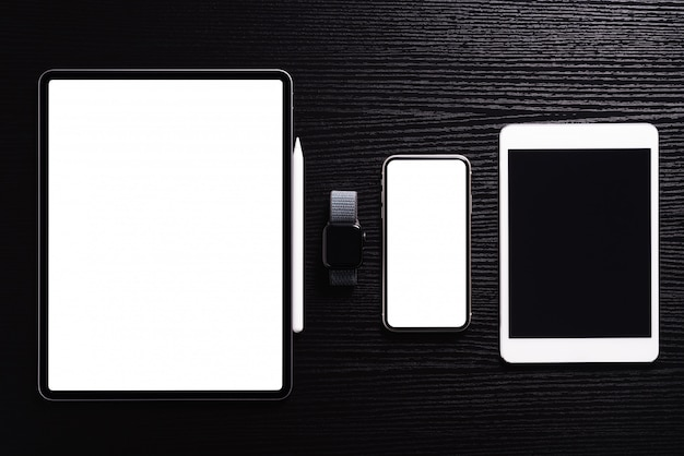 Communication electronic device on table top view