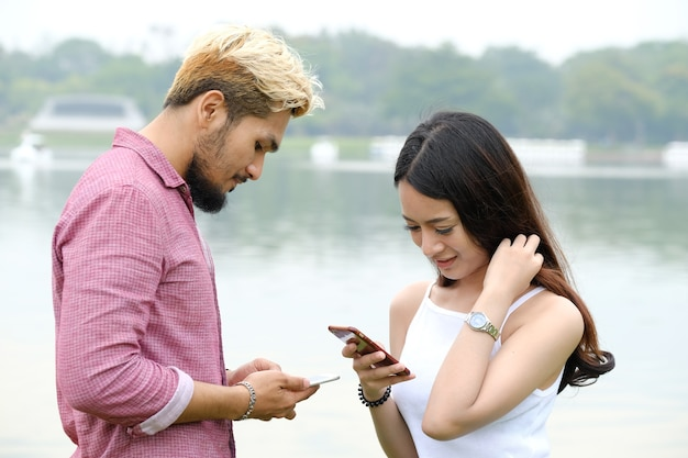 Communication on mobile during man and woman