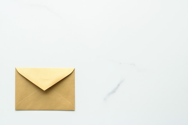 Communication newsletter and business concept  envelopes on marble background message