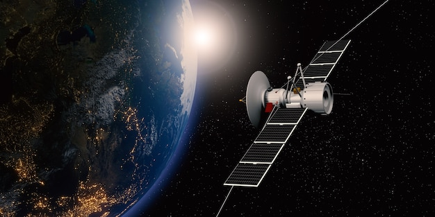 Communication satellite floating in space with a globe in the background transmitting via satellite