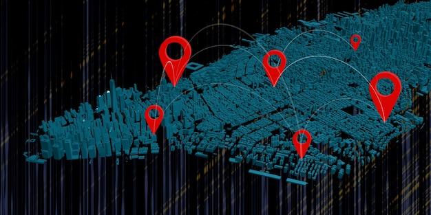 Связь спутниковая интернет-система gps булавки нью-йорк 3d иллюстрации