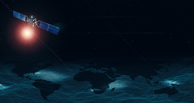 通信衛星空の軌道無線ネットワークの接続を示すメッシュ上の世界地図。宇宙の地球と衛星
