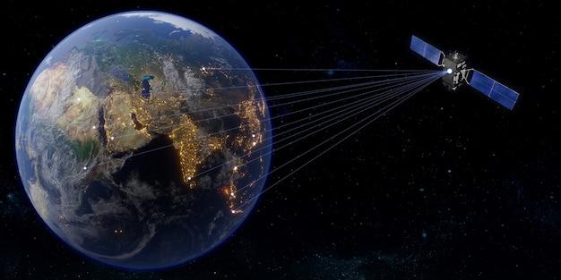Спутник связи во всем мире спутниковая передача 3d иллюстрации