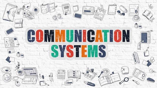 통신 시스템 개념입니다. 현대 선 스타일 그림입니다. 흰색 벽돌 벽에 그려진 여러 가지 빛깔의 통신 시스템입니다. 낙서 아이콘. 통신 시스템 개념의 낙서 디자인 스타일.