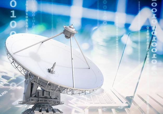 Концепция коммуникационных технологий с 3d-рендерингом спутников и ноутбука