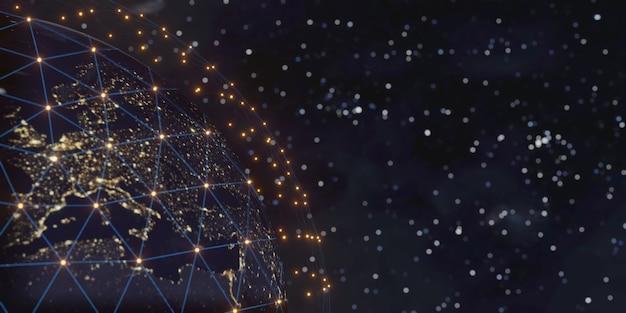 인터넷 비즈니스를위한 통신 기술. 지구상의 글로벌 세계 네트워크 및 통신, 3d 렌더링