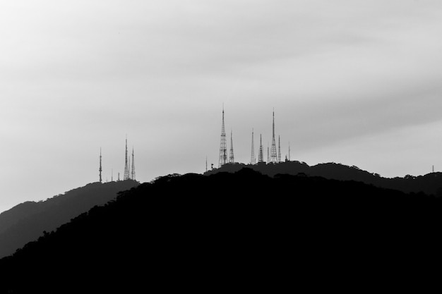Communication towers on the sumare hill in rio de janeiro brazil.