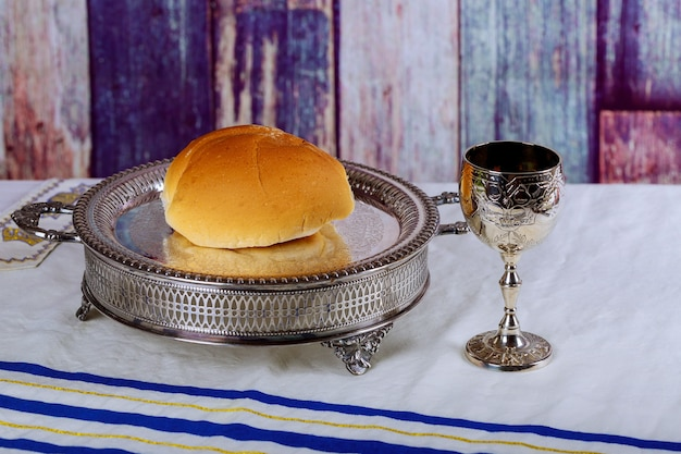 Communion elements represented by bread and wine