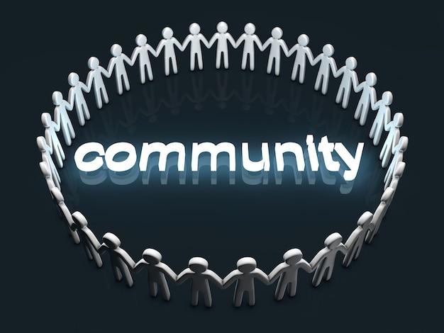 コミュニティの概念。円の中に立っているアイコンの人々のグループ。