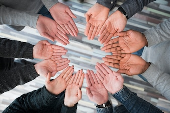 Community concept with hands of people