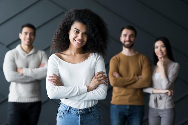 Community of positive people posing
