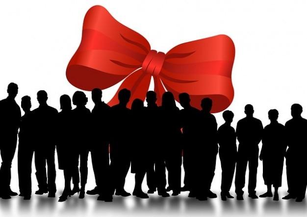 Comunità sagome anello dono umano di gruppo