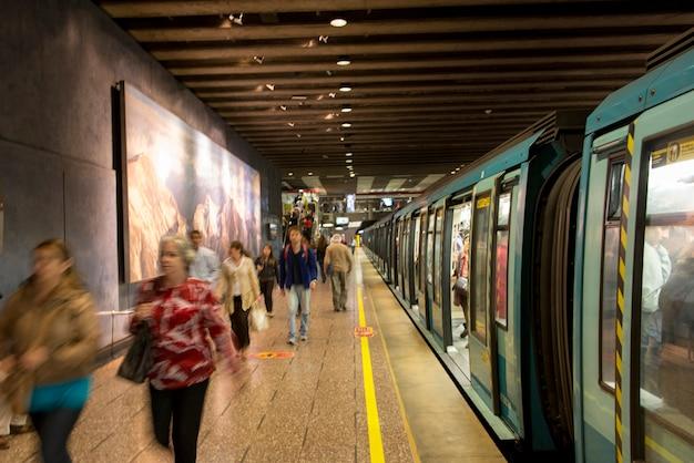 Commuters at santiago metro station, santiago, santiago metropolitan region, chile