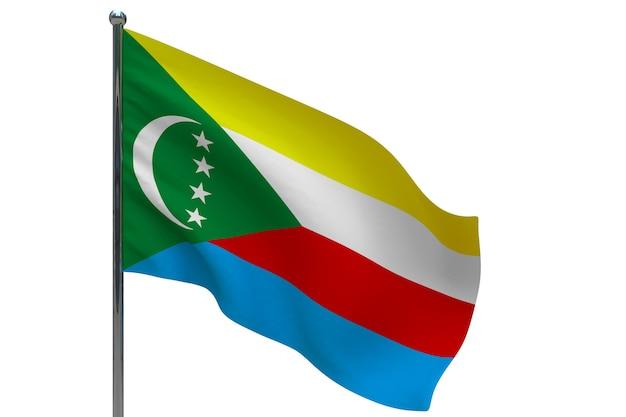 Флаг коморских островов на шесте. металлический флагшток. национальный флаг коморских островов 3d иллюстрация на белом
