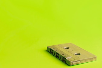 Compact cassette on yellow