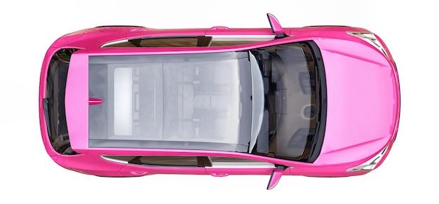 Компактный городской кроссовер розового цвета на белом фоне. 3d-рендеринг.