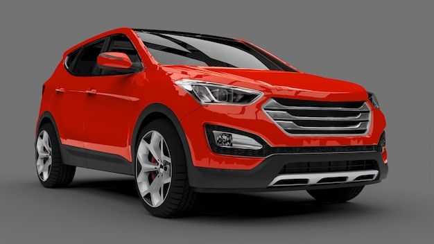 Compact city crossover red car