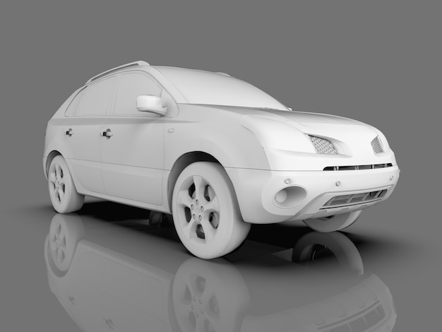 Compact city crossover white color on a gray glossy background with reflections. 3d rendering.