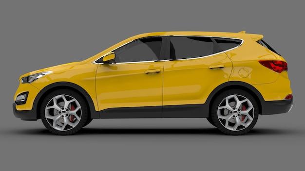 회색 표면에 컴팩트 시티 크로스 오버 노란색