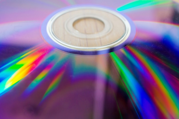 Compact disk close up. scratches on the magnetic party of a disk