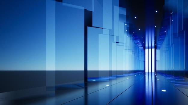 Компания фон синие стеклянные панели вдоль расширенного коридора 3d иллюстрации
