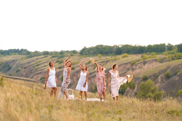 The company of cheerful female friends have a great time together on a picnic in a picturesque place overlooking the green hills