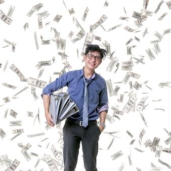 Company employee very glad that many bonuses fall to him.