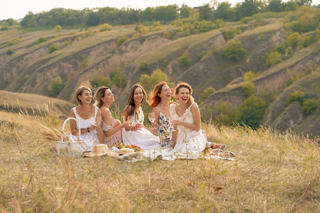 The company of gorgeous female friends having fun, drink wine, and enjoy hills landscape picnic