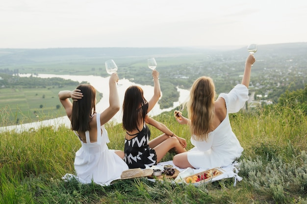 The company of gorgeous female friends having fun and drink wine, and enjoy hills landscape picnic.