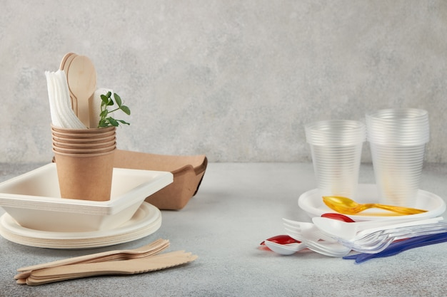 Comparison of biodegradable and plastic disposable tableware.