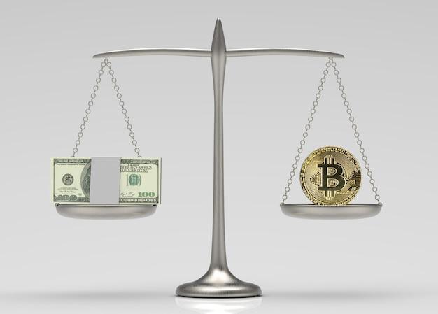 Сравнение валюты доллара сша и крипто биткойна в балансовой шкале