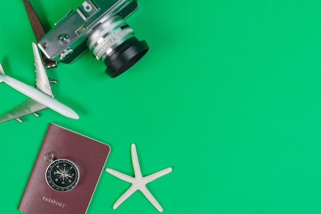 Compass and accessories for travel with copy space