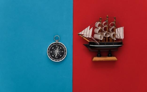 빨강-파랑에 나침반과 배