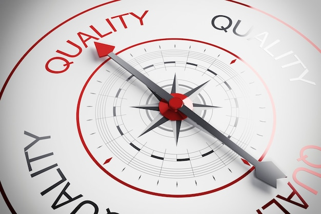 Compass arrow pointing to the word quality