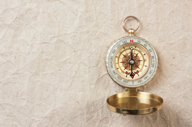 Compass on the background of old paper