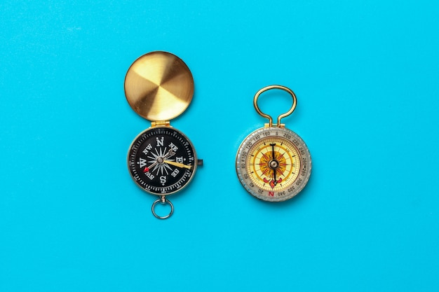 Compass on blue , top view