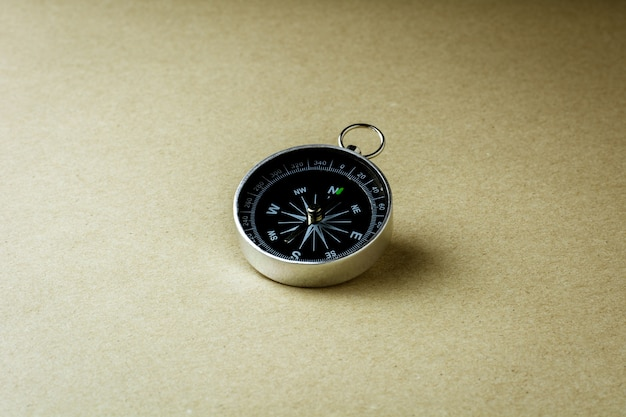 Compass on brown paper background.
