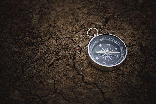 Compass on cracked soil. - vintage style