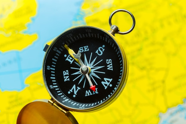 Compass on map  travel
