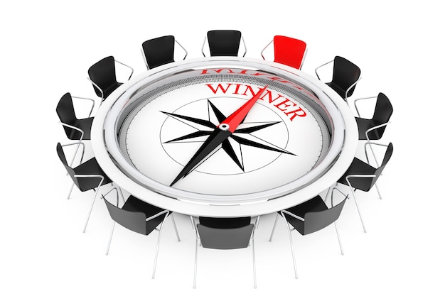 円卓上のコンパスは、白い背景の勝者の椅子に表示されます。 3dレンダリング