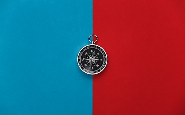 Compass on a red-blue
