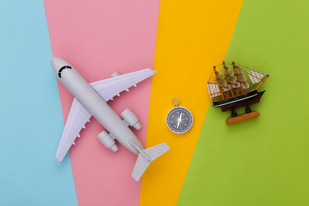 Compass, ship and air plane